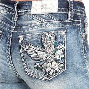 Miss Me Wing Embellished Pocket Skinny Jeans